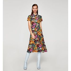Zara Floral Shirt Dress